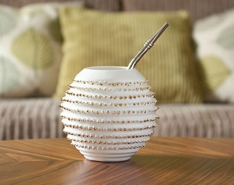 White Porcelain Yerba Mate Gourd with Spikes topped with Gold, Luxury Yerba Mate Mug