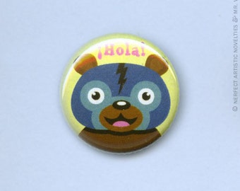 "Luchabear ¡Hola! 1"" Pin-Back Button"