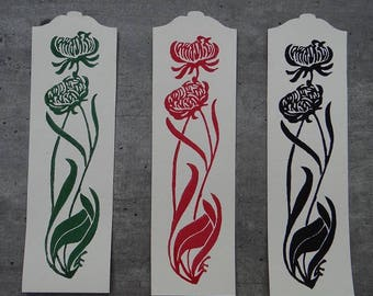 Bookmark / original linocut / Art nouveau / flowers