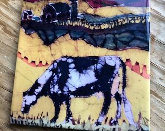 Holstein Cow Trivet    -  Harvest Grazing  - Farm -  Ceramic tile Batik Art
