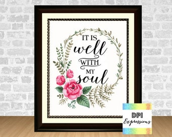 It Is Well With My Soul - Printable Hymn, Bible Verse Art Print, Scripture Art, Printable Poster, Christian Wall Decor, INSTANT DOWNLOAD