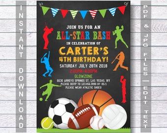 Sports Birthday Invitation, Sport Party Invite, Sports Invitation, Sports Birthday Party, boys sports invitations, Instant Download,  boys