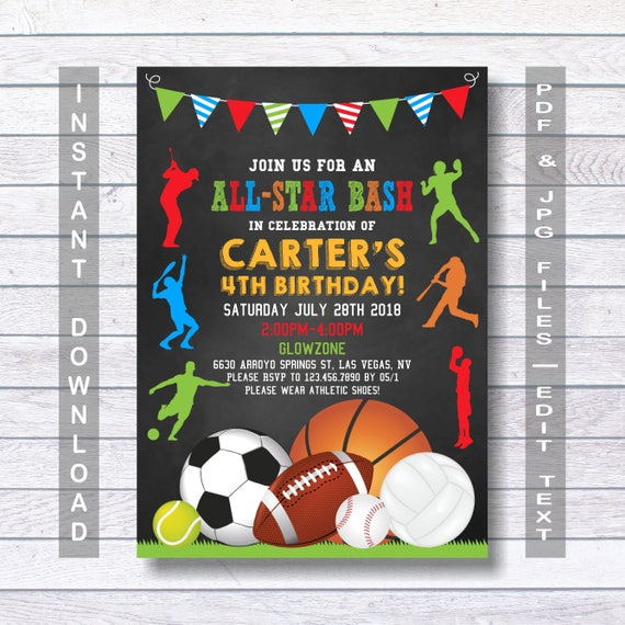 Sports birthday invitation sport party invite sports filmwisefo Image collections