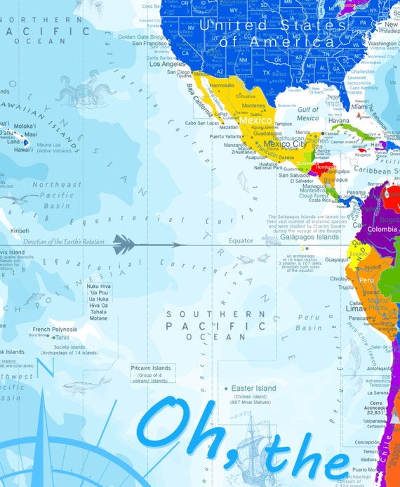 Oh the places youll go world map kids world map use oh the places youll go world map kids world map use as a wall or push pin map geography education gumiabroncs Images