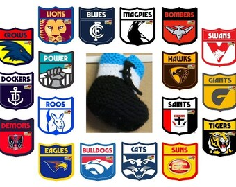 AFL Football Teams, Knitted Baby Booties, Hi Top Wool Baby Shoes, Baby Shower Gift