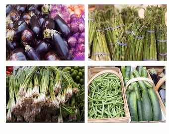 """Vegggie Photo Prints, Save on the Set of Four 5""""x7"""" Prints, Purple Eggplant, Asparagus, Scallions, Green Beans, Cucumbers, Zucchinis"""
