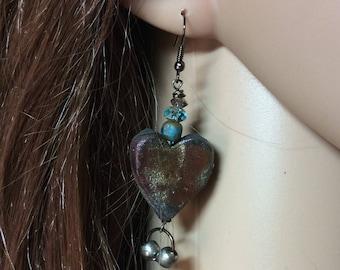 Artisan Made Raku Heart Earrings. Rustic Earrings