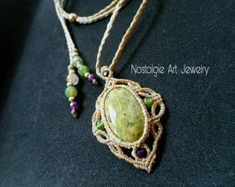 Macrame Ruby zoisite necklace