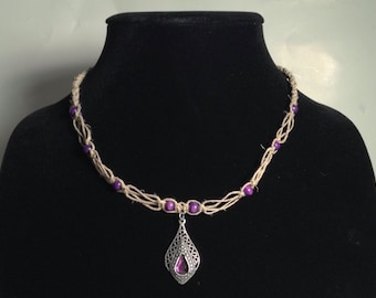 Purple Silver Paisley/Teardrop Filigree Hemp Necklace Boho Jewelry Hippie Jewelry Summer Festival Jewelry Gifts for Her Gifts for Him