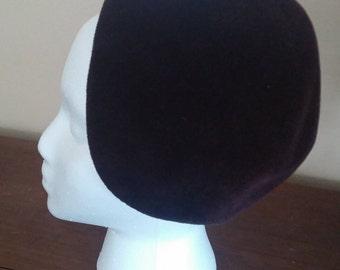Vintage Burgandy Velour Cloche Hat  by Halston of Bergdorf Goodman