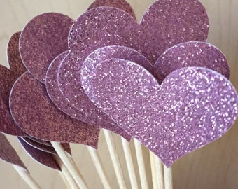 12 Pink Heart Cupcake Toppers Blush Champagne Sparkling HEARTS Cupcake Toppers Wedding Cake Decorations