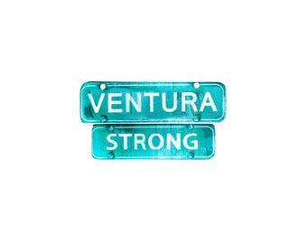 Ventura Strong 805 Iconic Green Highway Sign - Thomas Fire Relief Jewelry - Gold Plated & Rhodium Plated Brooch Lapel Sweater Pin