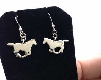Sterling Silver and Stainless Steel Horse Earrings