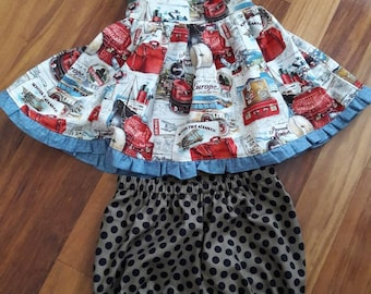 Girls size 4 short set handmade unique one of a kind travel vacation boutique