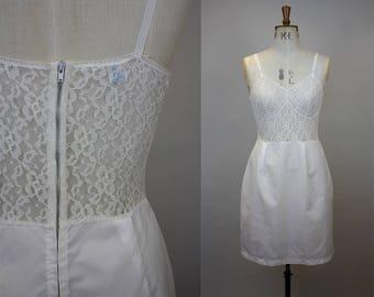 1950s White Slip / 1950s Lingerie / 1950s Slip / Lace and Taffeta Slip / Hollywood Glamour / Queen Eleanor / Size Medium / M L