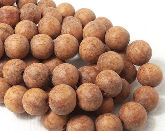 Unfinished Bayong Wood, 14mm-15mm, Round, Smooth, Large, Natural Wood Beads, 16 Inch Full Strand - ID 1786