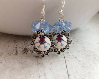 Polymer clay earring, blue sample, beads