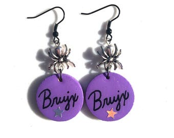 CLEARANCE! Purple Brujx (Witch) Earrings with Silver Spiders