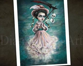 Lady Grim Reaper - Creepy Victorian Painting - Dark Fantasy Art Print