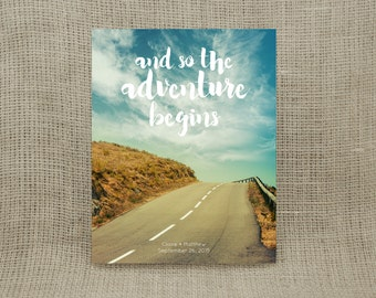 """Personalized """"and so the adventure begins"""" Print (UNFRAMED)  - Makes a wonderful wedding, engagement or housewarming gift!"""