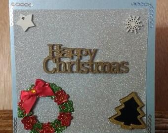 Christmas card, Handcrafted card, blank card, Christmas themed