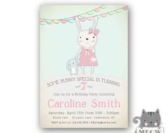 Bunny Rabbit Birthday Invitations for Girls - 7th Birthday Invitations, Printable Kid's Birthday Invitation, Girls 7th Birthday Party, 44a
