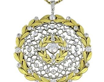 Pendentif diamants rosace Or jaune 18K  Platine Belle époque