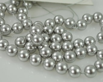 50 Light Grey Swarovski Pearls - 8mm (5810)