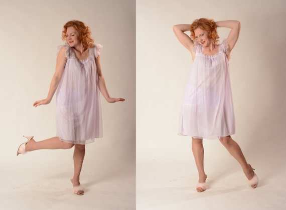 Vintage 1960s Lilac Babydoll Nightgown Nightie Bridal