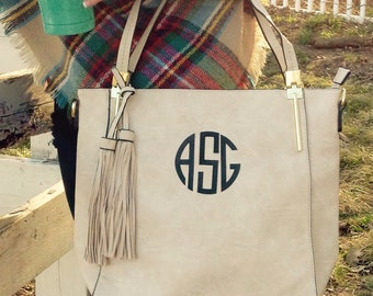 Monogram purse tote - Boho Style purse- monogram pocketbook - creme monogram bag ~ Boho Bag, off white bag
