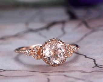 7mm Round Cut Morganite Engagement Ring,14k Rose Gold,Anniversary ring,Promise ring,Art deco,Ball Prong,Milgrain edge,Marquise,Gift for her