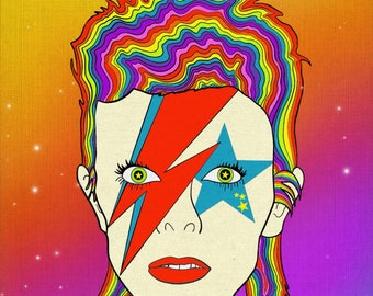 Ziggy Played Rainbows || - David Bowie Art Print