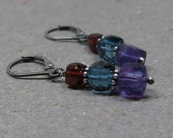 Amethyst, Blue Topaz, Garnet Earrings Geometric Jewelry January February December Birthstone Oxidized Sterling Silver Leverback