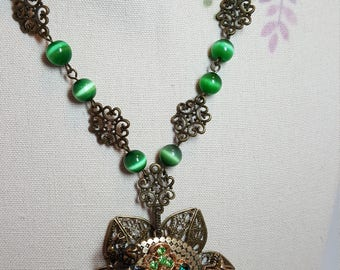 Re-purposed, upcycled assemblage vintage style green rhinestone drop necklace