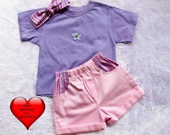 Girls' Short set size 2, Girls' shorts size 2, Toddler short, Pink and purple stripe short, GREAT PRICE only one set.
