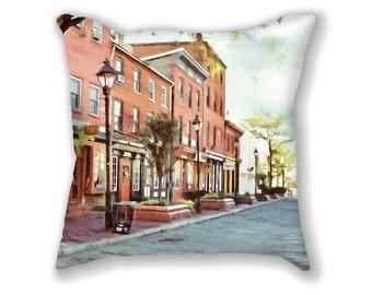 Fell's Point, Pillow, Baltimore,  City Pier, Historic Waterfront, Historic Buildings,  Cityscape, Urban Decor, Maritime, Vintage