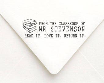 Personalized Classroom Stamp, Custom Teacher Classroom Stamp, School Book Stamp,