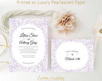 Printed wedding invitations with RSVP postcards | Purple wedding invitations | Marriage invitations | Personalized wedding invitations