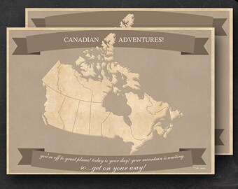 "Canadian Travel Maps - Printable Canada Travel Map Instant Download - 24""x36"" Wall Art - 2 pack - With Text or Add your own text"