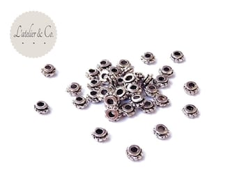 20 beads puck 5.5 mm silver metal [NF42]