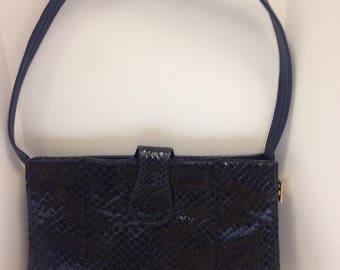 "Petrol Blue Shilton Leather ""snakeskin"" handbag"