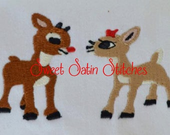 Inspired Christmas Rudolph the Red Nosed Reindeer and Clarice Machine filled Embroidery Design, Deer