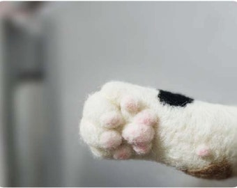 Cat hand paw Magnet- needle felted wool (MADE TO OREDER)