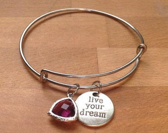 Antique silver live your dream and purple crystal charm bangle