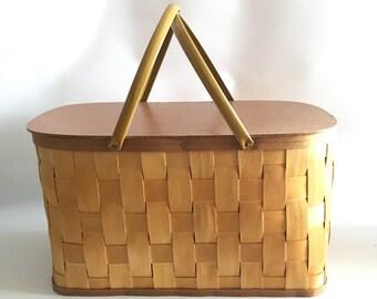 Wooden Slat Burlington Hawkeye Basket 1970s Beautiful Extra Large Picnic Basket Metal Handles