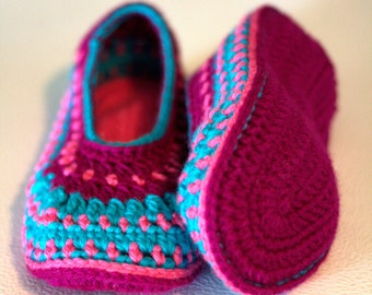 women girl crocheted slippers knitted Made to order