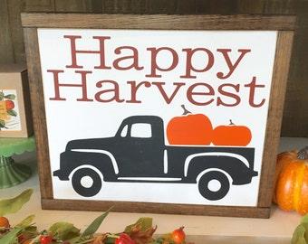 Happy Harvest   Vintage Fall Truck   13x13