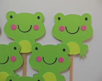 Frog Cupcake Toppers - Green - Gender Neutral Birthday Party Decorations - Gender Neutral Baby Showers - Set of 6