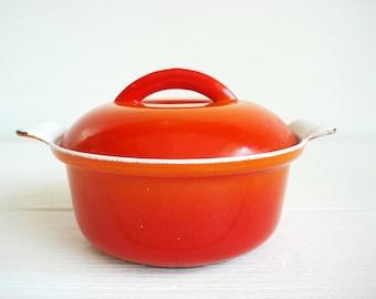 Vintage Descoware Belgium Flame Orange Covered Saucepan
