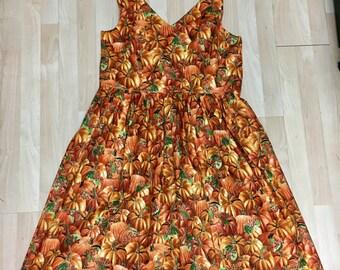 Claudia Dress in Harvest Pumpkin Fabric